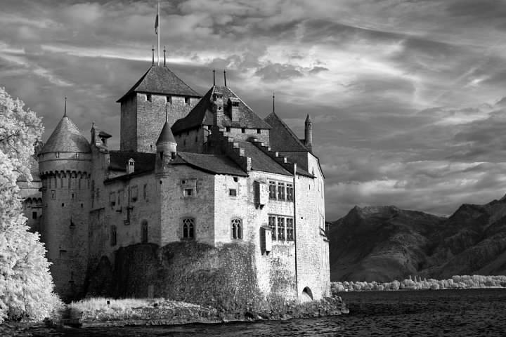 Chateau de Chillon near Montreux, Switzerland. A classic example of what infrared photography can offer.  Lowell Silverman photography, 2011