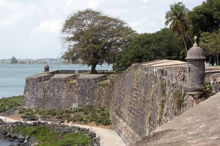 Old San Juan city walls, with Paseo del Morro walking path below