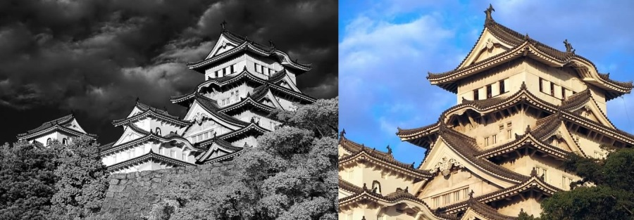 Himeji Castle, Japan.  The color photo is by no meanshorrible, but lacks the drama of the IR one's contrast between the castle and dark sky.  Lowell Silverman photography, 2007