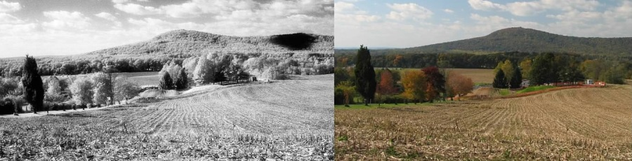 Sugarloaf Mountain, Maryland: a comparison of photos taken at the same time with Kodak HIE film (left) and digital color (right).  Note the sharper detail on the mountain on the IR shot due to it being less affected by haze.  Lowell Silverman photography, 2006