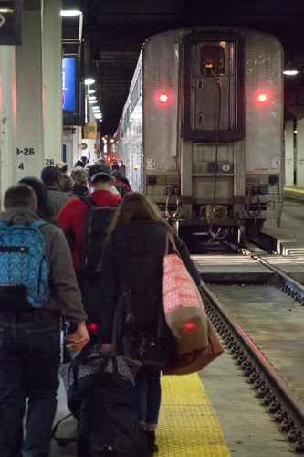 All Aboard!  Chicago's platforms are basically dungeons because the railroads that preceded Amtrak sold the valuable