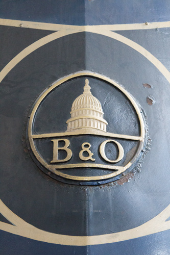 The Baltimore & Ohio Railroad symbol featured the US Capitol in Washington DC.  Lowell Silverman photography, 2014