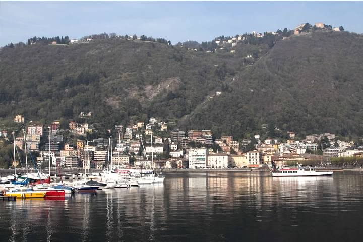 Como's harbor with Brunate on the hill above