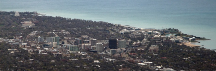 Evanston, Illinois seen from the air on approach to Chicago O'Hare International Airport