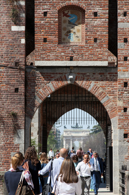 Gate at Castello Sforzesco with the Arco della Pace in the distance