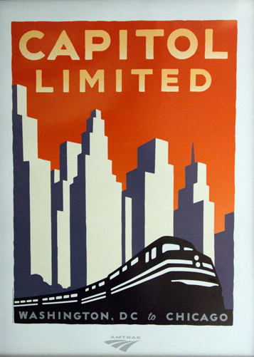 The Capitol Limited poster displayed in one of the Sleepers; Amtrak's other long distance trains have similar art reminiscent of a wood block print