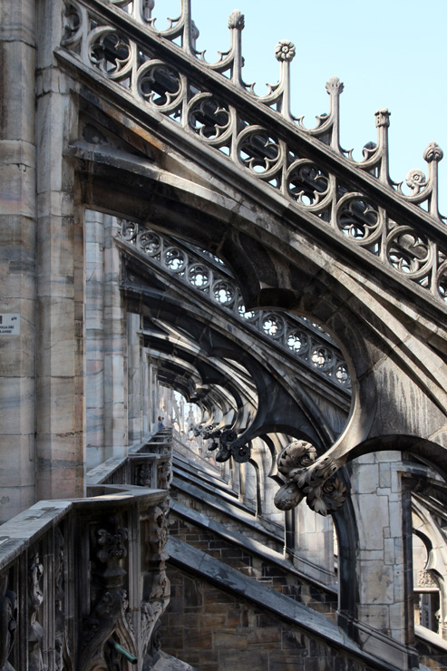 The walkway along the lower roofline provides a close view of the cathedral's flying buttresses