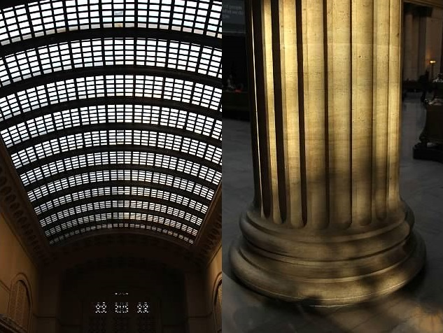 Views of the great hall's enormous skylight and columns