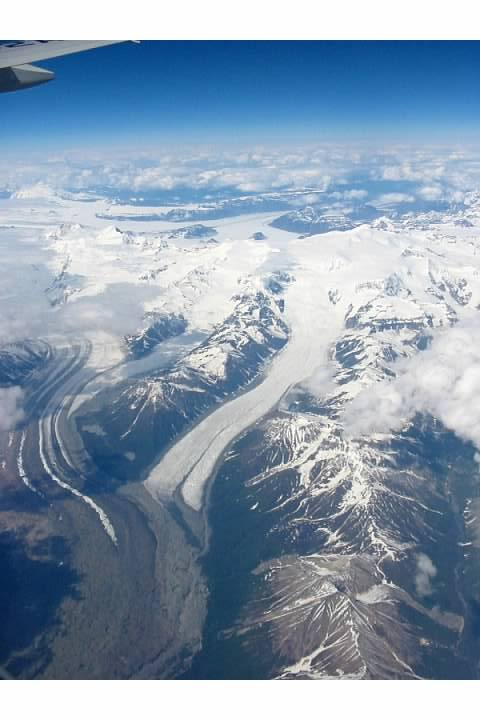 View of Alaskan mountains from ANA B777