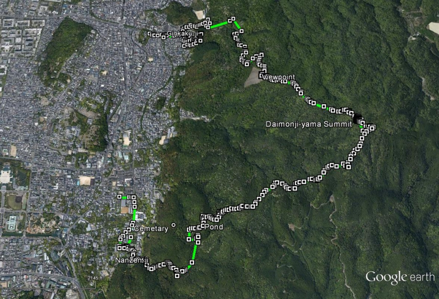 Daimonji-yama Map from 2007 GPS track via Google Maps. The cemetery from 2005 is also marked