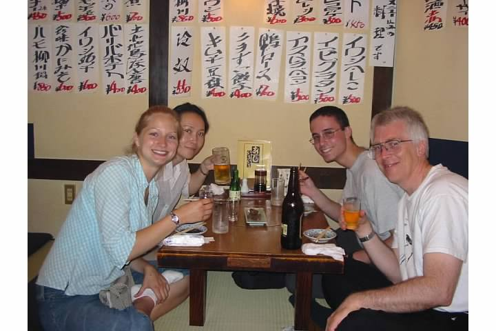 Visiting an izakeya or Japanese pub. Our teachers subjected us to the outlandish menu items on the wall