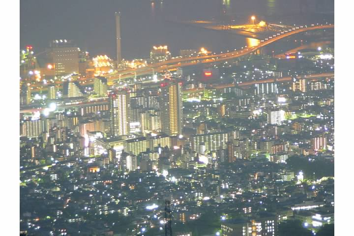 Rokkomichi area of Kobe at night from Mt. Rokko