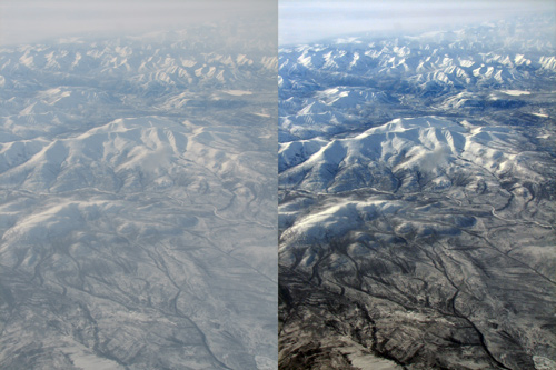 Levels in Photoshop Elements can help save an aerial image from low contrast caused by haze and shooting through glass.