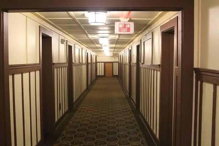 Swiss chalet-inspired hallway