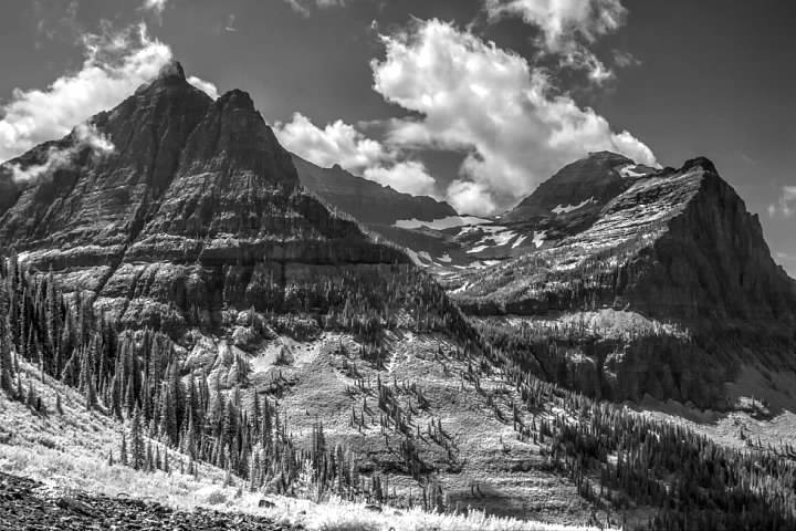 Mts. Oberlin, Clements, and Cannon seen from the Big Bend.  Infrared