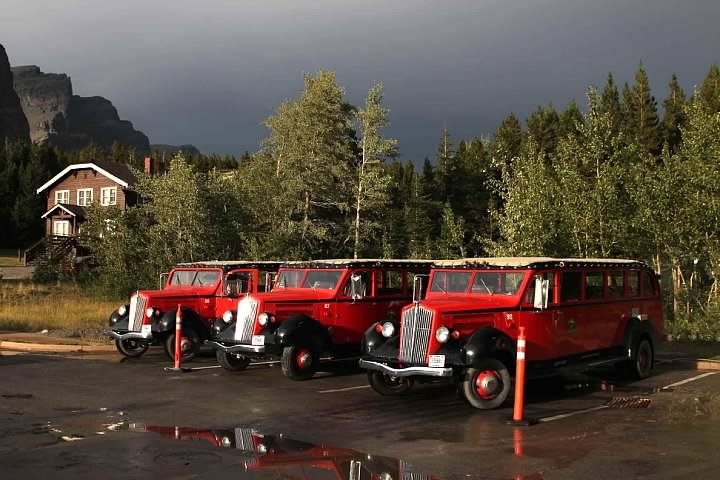 Red Jammer buses after a thunderstorm in Glacier National Park. Lowell Silverman photography, 2014