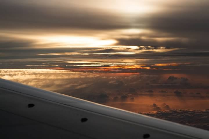 Sunset over the Atlantic Ocean seen from a Southwest Airlines flight from San Juan to Baltimore. Lowell Silverman photography, 2015