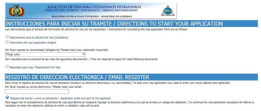 Visa application on the Bolivian Consulate General website