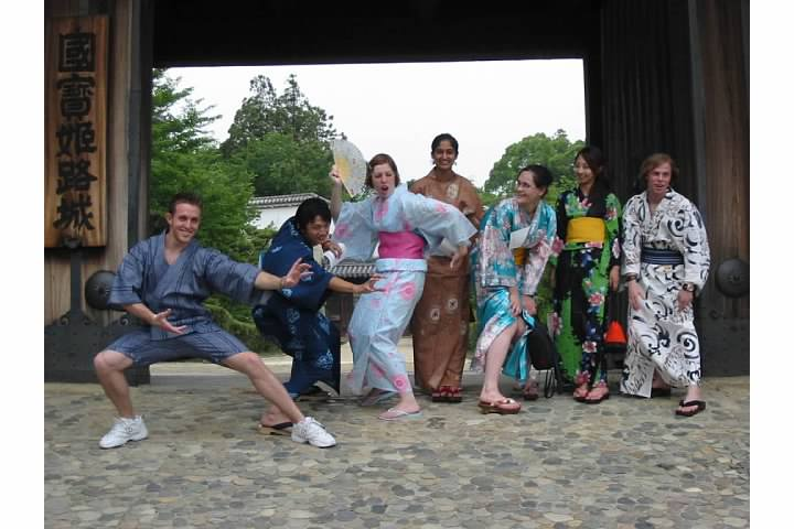 Members of the University of Delaware's 2005 Kobe Study Abroad program hamming it up for the camera