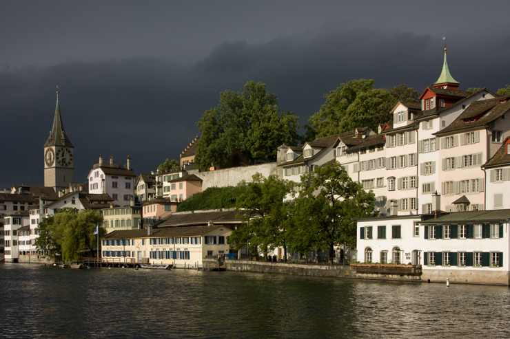 Zurich riverfront. Lowell Silverman photography, 2011