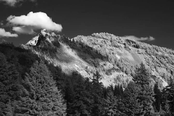 Garfield Peak in infrared seen from near the start of the trail. Lowell Silverman photography, 2014