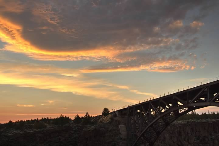 Crooked River Railroad Bridge at sunset