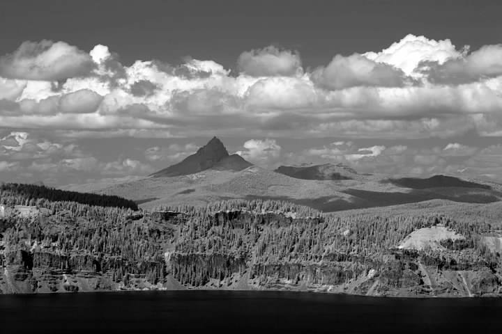 Despite its present shape, Mt. Thielsen is a shield volcano and originally had far more gentle slopes