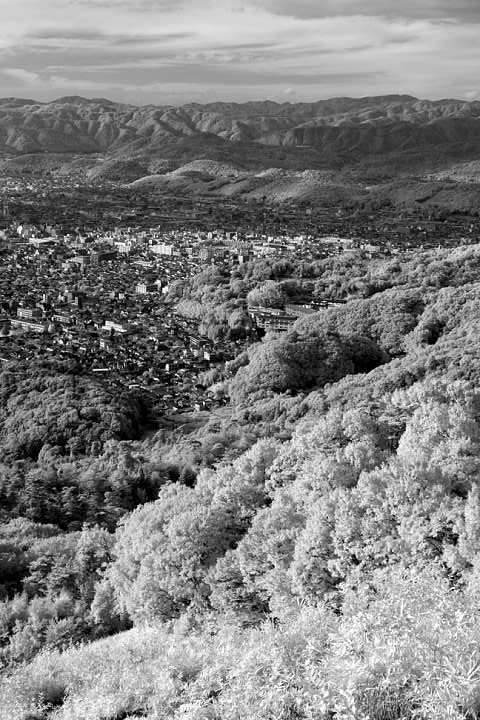 View from Daimonji-yama. Infrared photo. Lowell Silverman photography, 2007