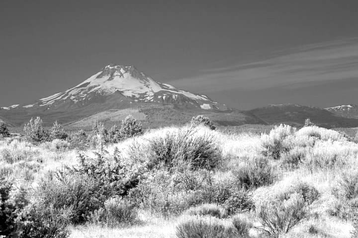 Mt. Jefferson in infrared from the Warm Springs Indian Reservation