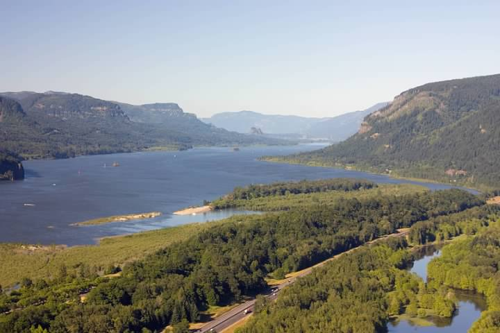 Columbia River Gorge seen from the Vista House. I-84 is visible at the bottom of the picture. Lowell Silverman photography, 2008