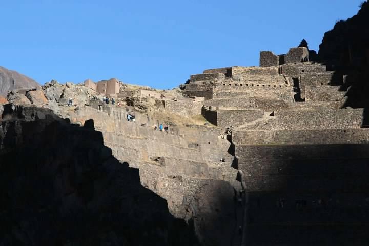 Incan ruins viewed from downtown Ollantaytambo