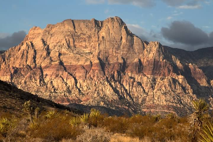The Red Rock Escarpment is on the west side of Red Rock Canyon