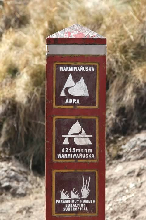 Dead Woman Pass marker. The ecosystem translates as