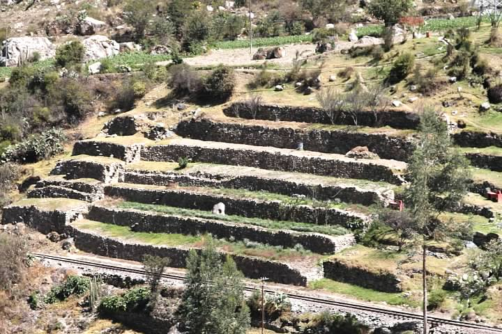 Terraces across the Sacred River from the trail