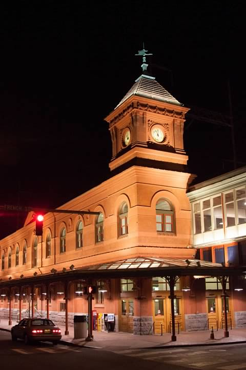 Wilmington Station at night. Lowell Silverman photography, 2011