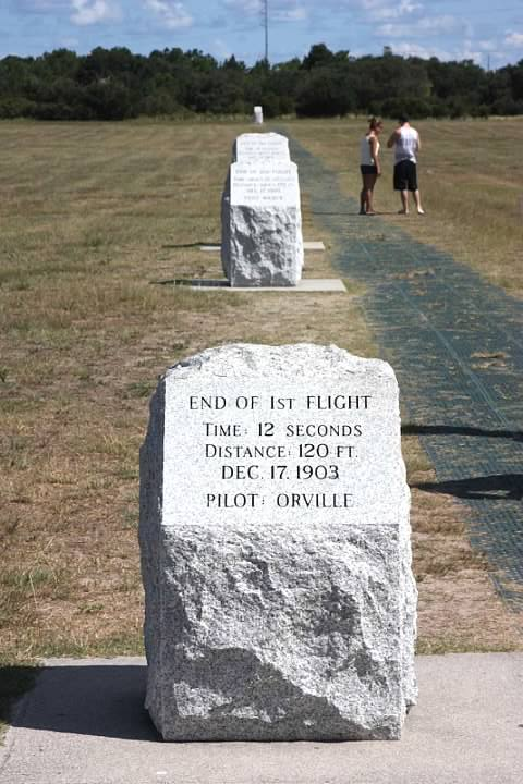 Stones marking the end of each of the Wrights' first four flights